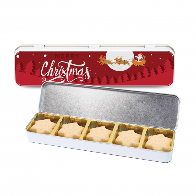 Christmas – Slim Tin – Mini Shortbread Biscuits – Stars