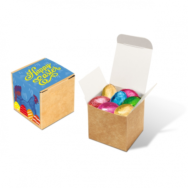 Easter – Eco Kraft Cube – Foiled Chocolate Eggs