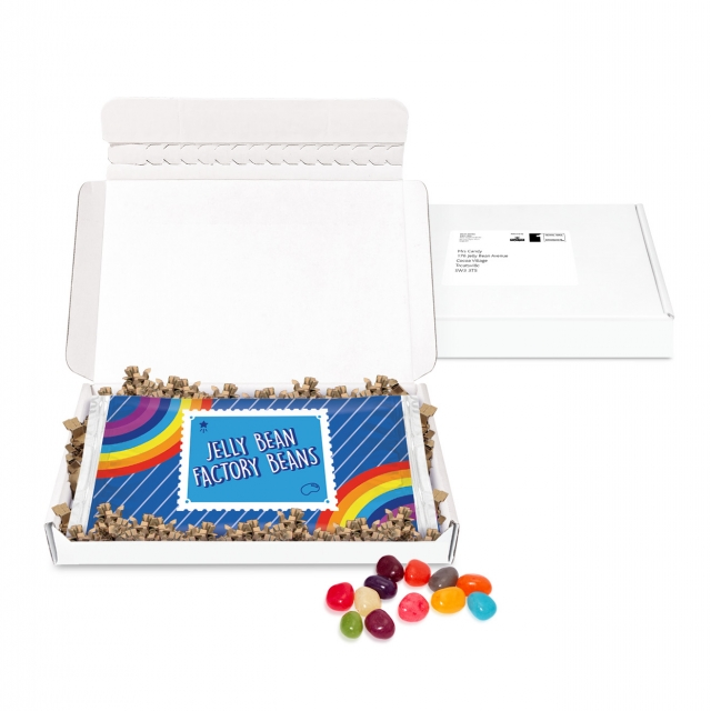 Gift Boxes – Mini White Postal Box – Jelly Bean Flow Bag – DIGITAL PRINT