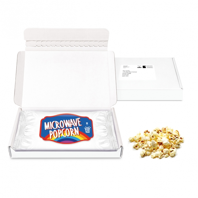 Gift Boxes – Mini White Postal Box – Microwave Popcorn – PAPER LABEL
