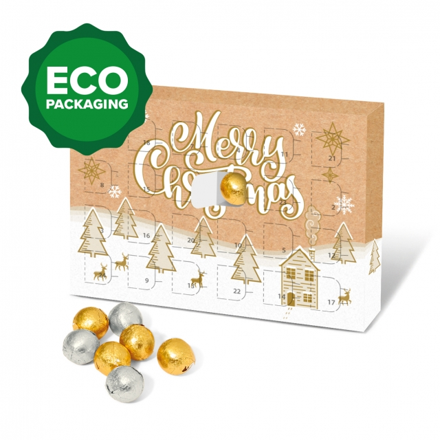 Eco Advent Calendars – A5 Calendar – Foiled Chocolate Balls