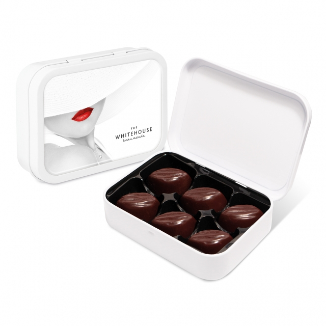 White Sweet Tin – Dark Salted Caramels – Cocoa Bean Truffles