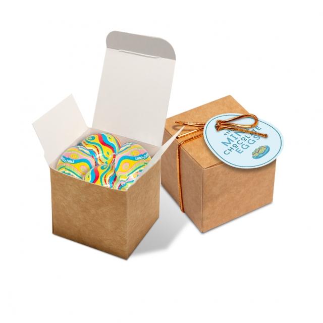 Easter – Eco Kraft Cube – Mini Chocolate Eggs – NEW